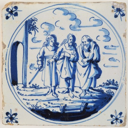 Antique Delft Biblical tile in blue depicting Jesus and two disciples walking on the Road to Emmaus, 17th century Harlingen