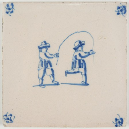 Antique Delft tile with two children playing with a jumping rope, 18th century