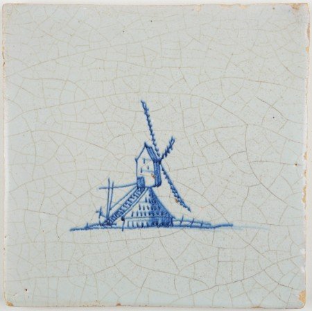 Antique Dutch Delft tile in blue with a post mill, 17th century