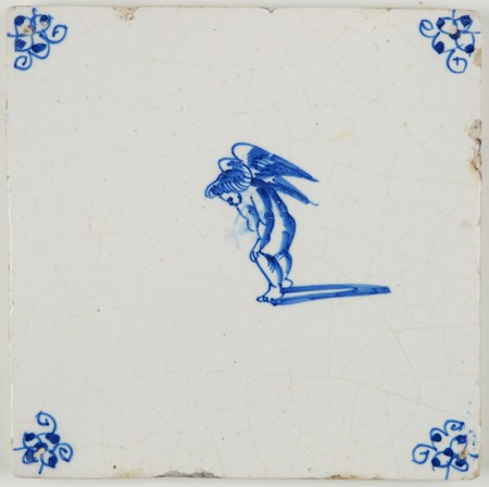 Antique Delft tile in blue with Cupid not feeling to well, 17th century
