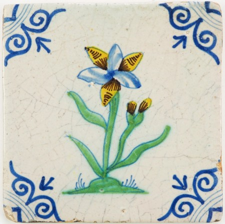 Antique Delft tile with a beautiful polychrome flower, 17th century