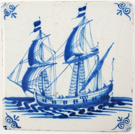 Antique Delft tile depicting a beautiful tall ship in full sail, 17th century
