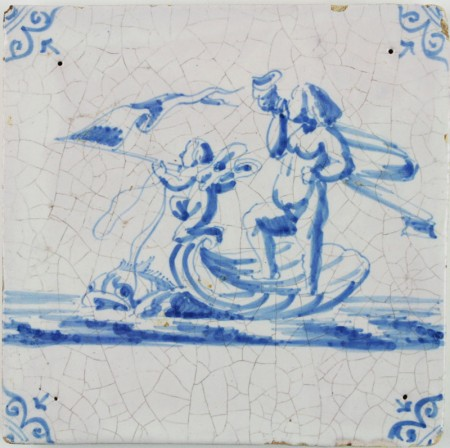 Antique Dutch Delft tile with Fortuna and Cupid in a shell being pulled by a dolphin, 17th century
