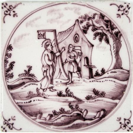 Dutch Delft tile depicting Jesus and Zacchaeus