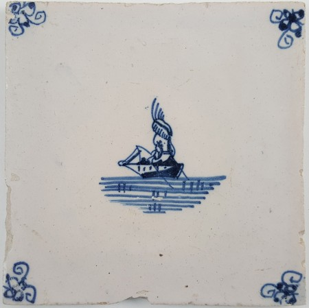 Antique Delft tile with a figure in a rowing boat, 19th century