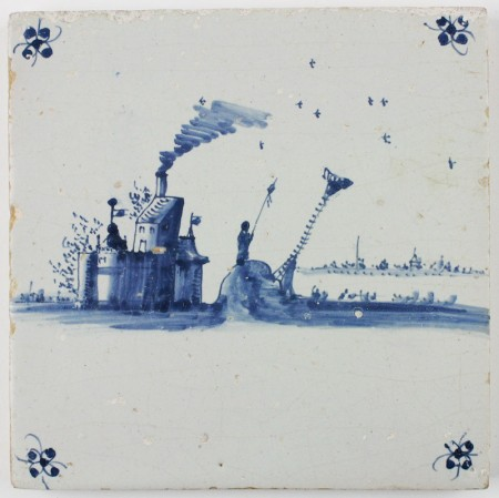 Antique Delft tile with a fire beacon to warn ships for the coast, 17th century