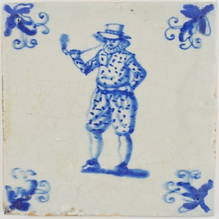 Antique Delft tile with a man of stature smoking a tobacco pipe, 17th century