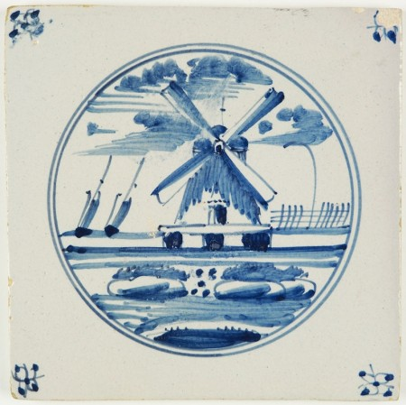 Antique Delft landscape tile with a windmill in blue, 18th century