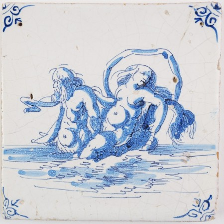 Antique Delft tile with a sea nymph on the back of a merman, 17th century Harlingen