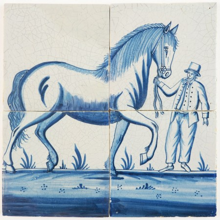 Antique Delft tile mural in blue depicting a Frisian horse and its owner, 18th/19th century Harlingen