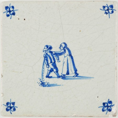 Antique Delft tile with a drunk man puking while his lady keeps him standing on his feet, 17th century