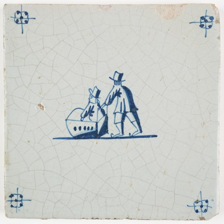 Antique Delft tile with a child in a sledge being pushed by a figure on ice skates, 17th century