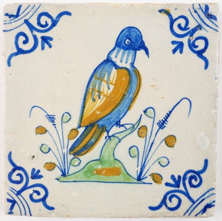 Antique Delft tile with a beautiful polychrome pigeon, 17th century