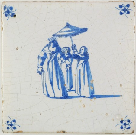 Antique Delft tile with a queen/regent and her servants holding an umbrella, 17th century
