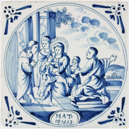 Antique Dutch Delft biblical tile with Jesus and the children, 18th century