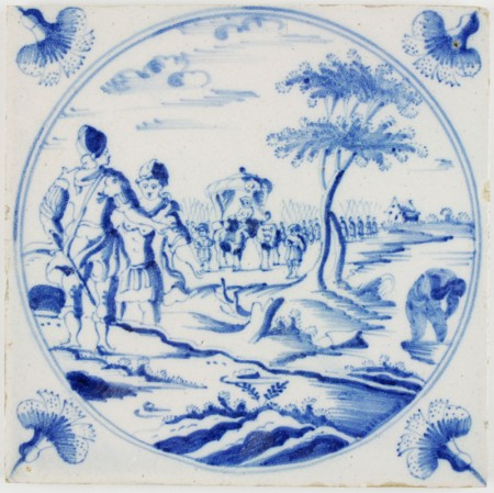 Antique Dutch tile with Naarman washing in the Jordan river, 18th century