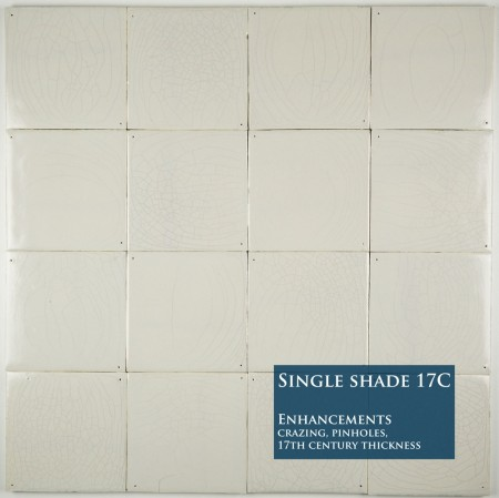 Plain white Delft tiles handmade reproductions - Single shade 17C