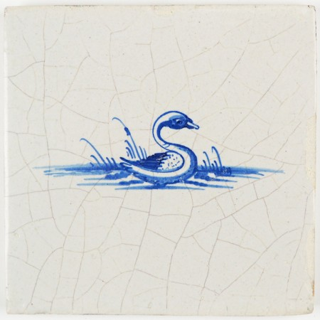 Antique Delft tile with a lovely swan in blue, 17th century