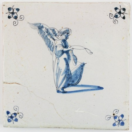 Antique Delft tile in blue with a beautiful angel holding a broken string instrument, 17th century