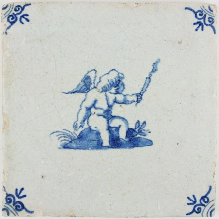 Antique Dutch tile with Cupid sitting and lifting a torch, 17th century