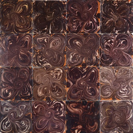 Antique Delft wall tiles known as Flamed tiles - black, 18th century