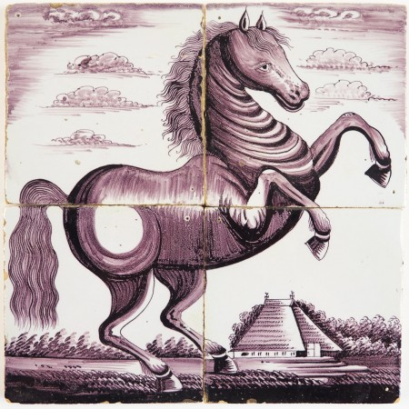 Antique Delft tile mural in manganese with a prancing horse, 19th century