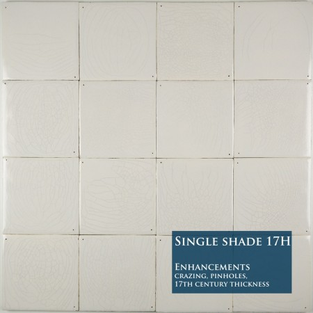 Plain white Delft tiles handmade reproductions - Single shade 17H