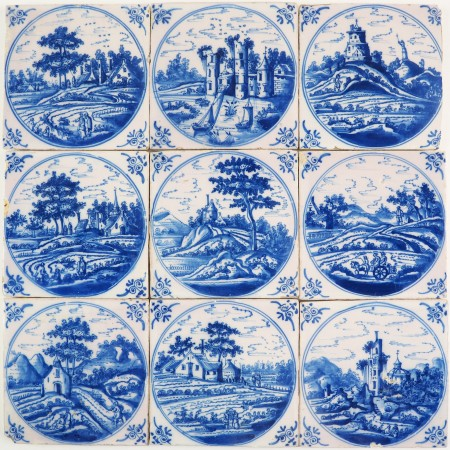 Set of nine antique Delft tiles in blue with very detailed landscape scenes, 18th century