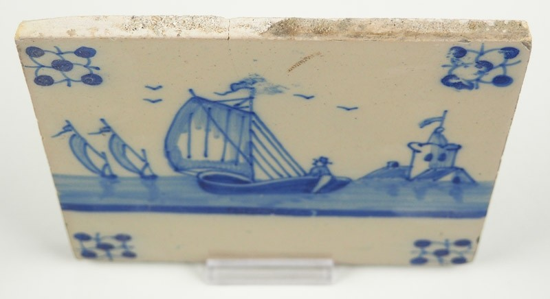 Antique Delft Tile In Blue With A Sailing Boat And A