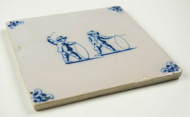 Antique Delft Tile With Two Children Playing With Hoops 18th Century