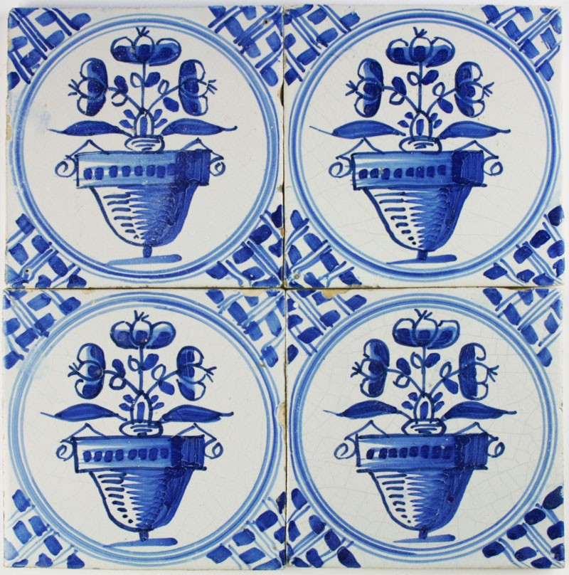 Antique Dutch Delft Wall Tiles With Flower Pots In Blue