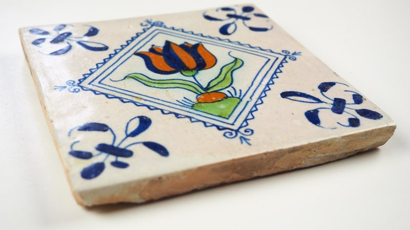 Rare 17th Century Set Of Delft Wall Tiles With Beautiful