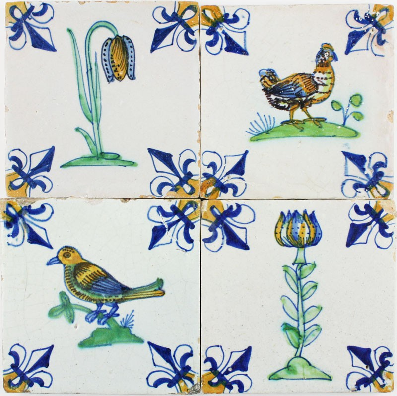 Perfect Extraordinary Field Of Original Polychrome Antique Dutch Delft Tiles With  Birds And Flowers, 17th Century ...