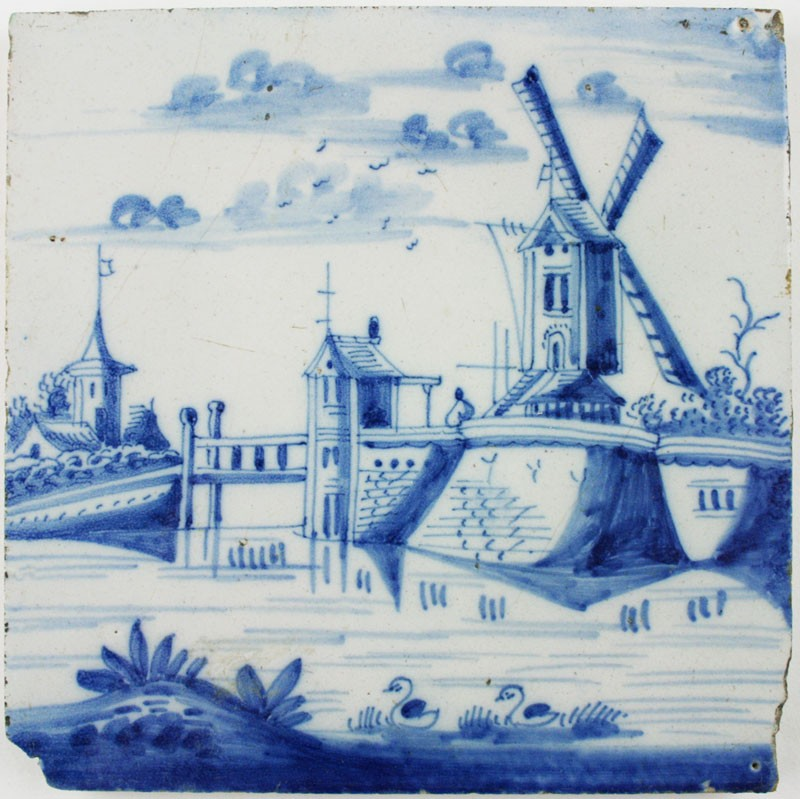 Antique Dutch Delft Landscape Tile In Blue Depicting A
