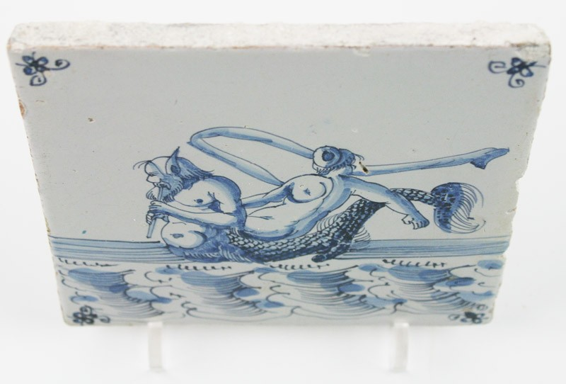 Antique Dutch Delft Tile With A Merman And Fortuna 17th Century