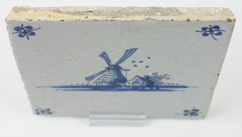 Antique Dutch Delft Tile In Blue With A Windmill Near A