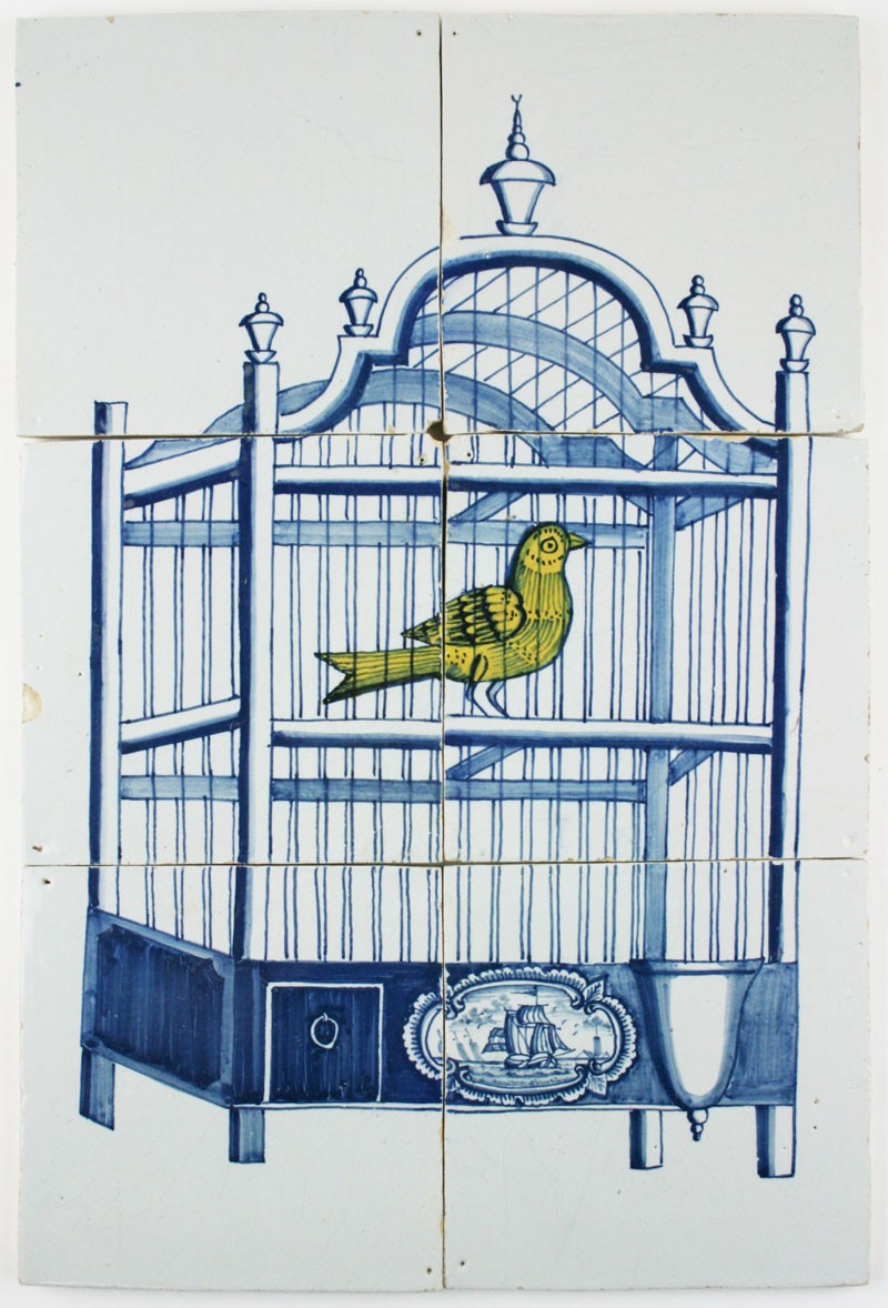 Antique dutch delft tile mural in blue with a bird cage for Delft tile mural