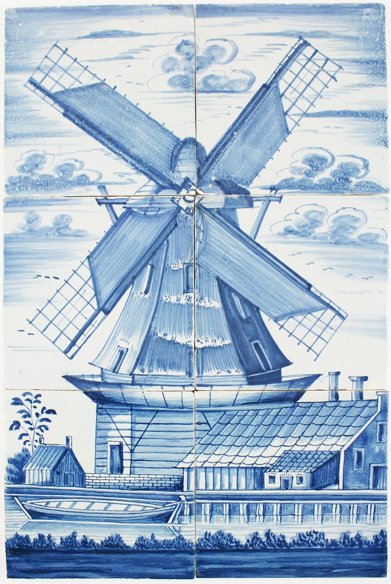 Antique delft tile mural with a windmill in blue 18th for Delft tile mural