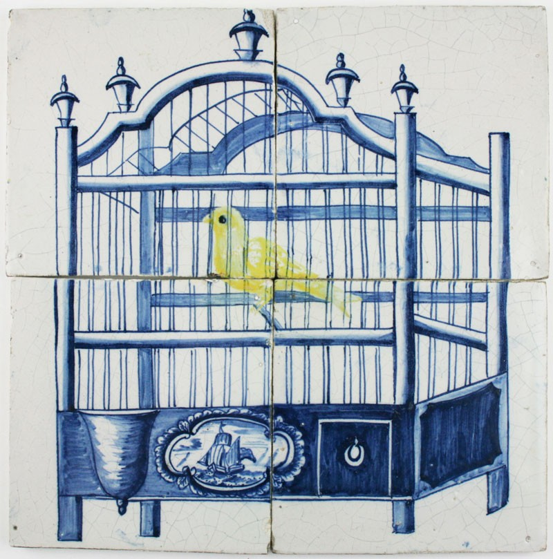 Antique dutch delft tile mural with a bird cage and a for Delft tile mural