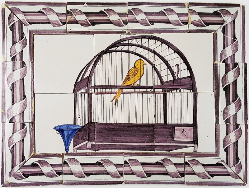 Antique delft tile mural with a manganese birdcage and a for Delft tile mural