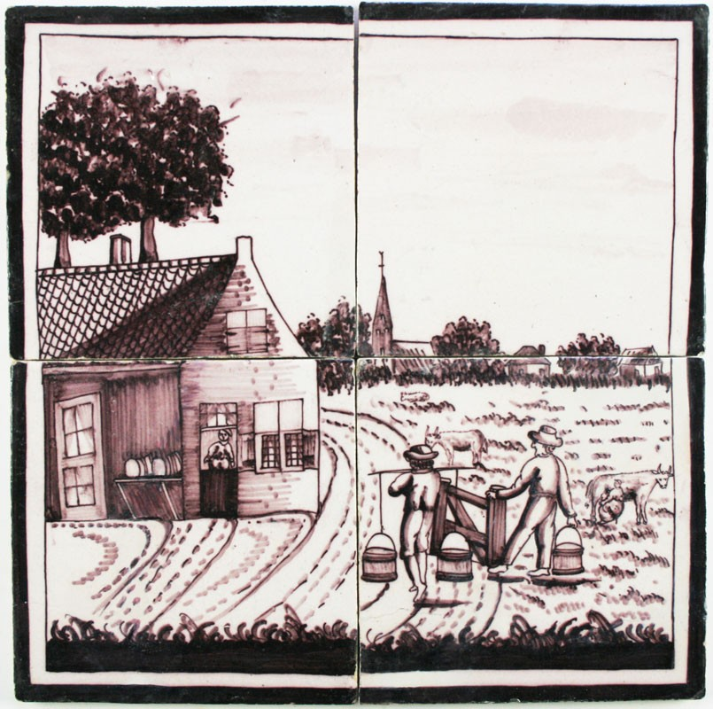 Antique dutch delft manganese tile mural with a farm scene for Delft tile mural