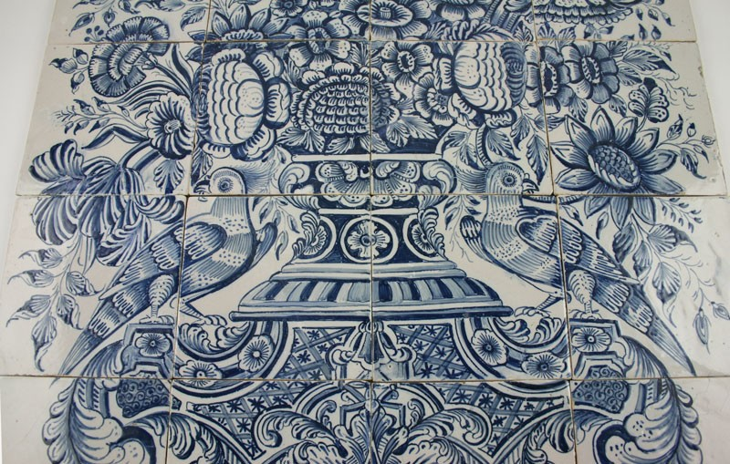 Antique dutch delft tile mural with a flower vase in blue for Delft tile mural