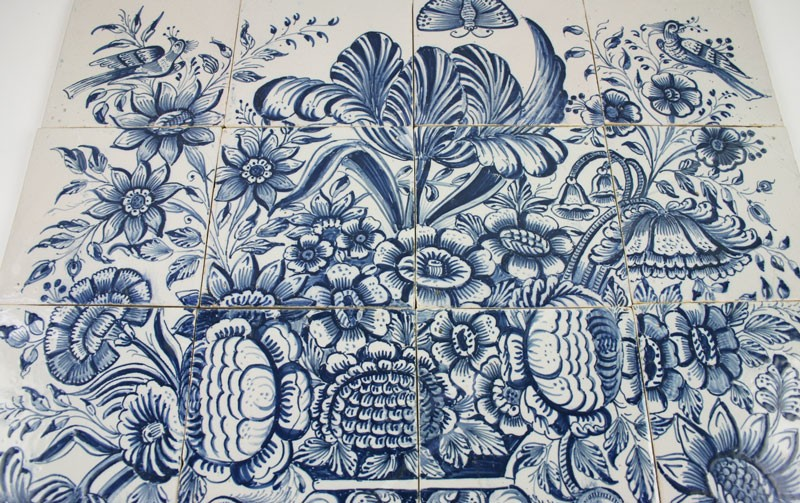 Antique Dutch Delft Tile Mural With A Flower Vase In Blue