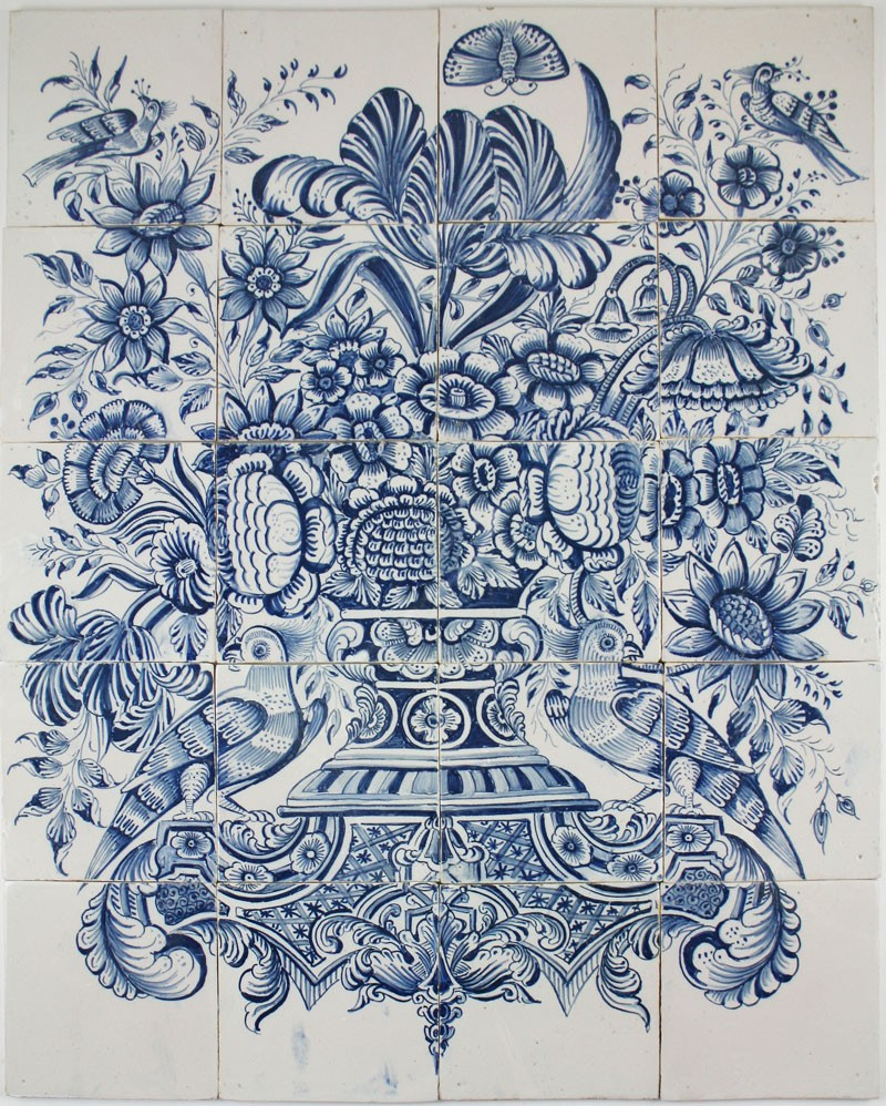 Antique Dutch Delft tile mural with a flower vase in blue, 18th ...