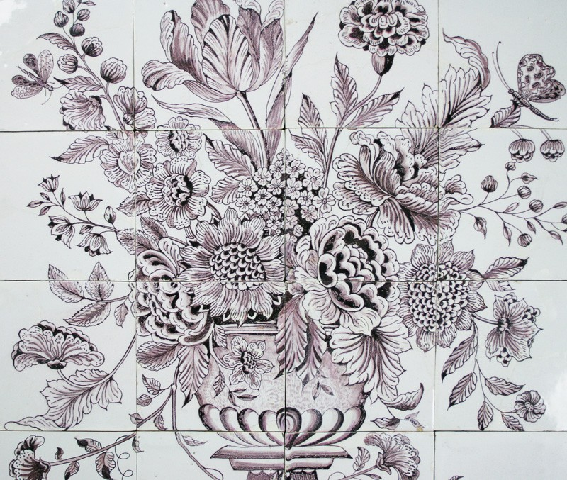 Manganese antique delft tile mural with a large flower for Delft tile mural