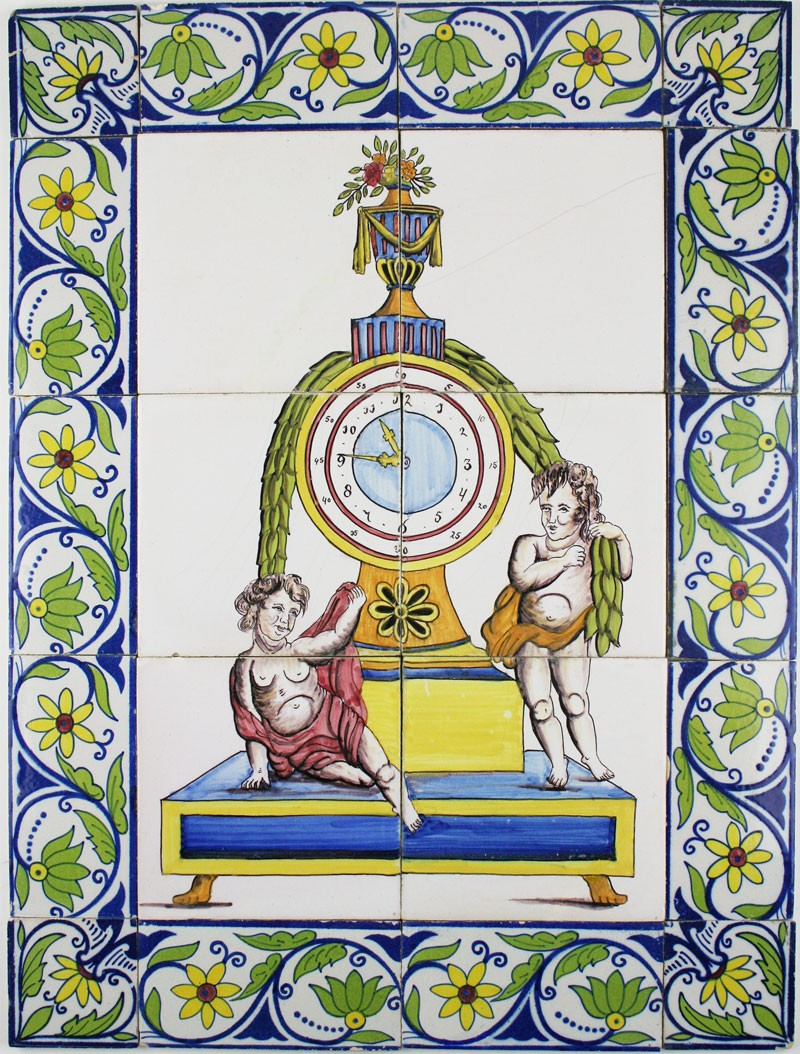 Antique polychrome dutch delft tile mural with a pendulum for Delft tile mural