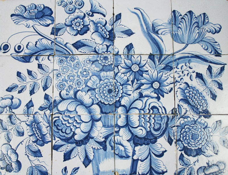 Antique Dutch Delft Tile Mural With A Flower Vase And
