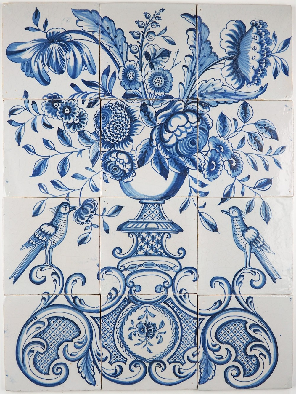 Antique Delft tile mural with a richly decorated flower vase in blue ...