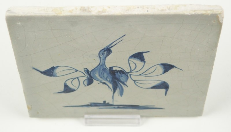 Antique Delft Tile With A Beautiful Stylized Bird In Blue