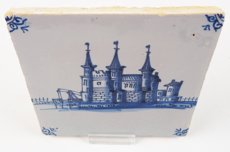 Antique Delft Tile With A Castle In Blue Harlingen 17th